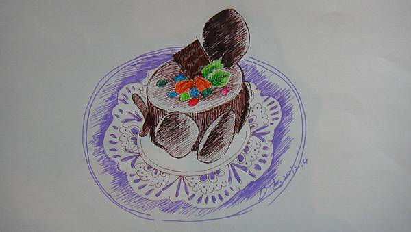 鋼珠筆畫甜品畫法範例(蛋糕)