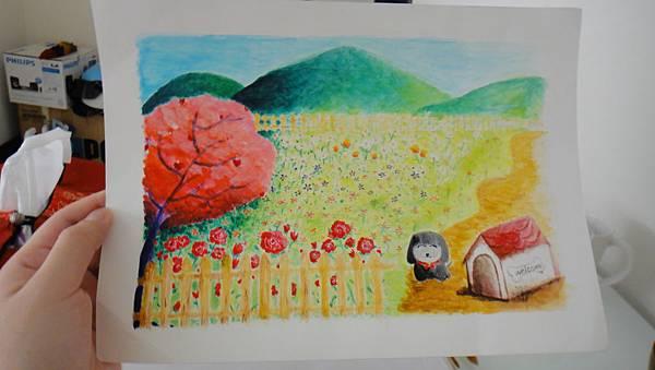 學生壓克力畫作業(我的秘密花園)