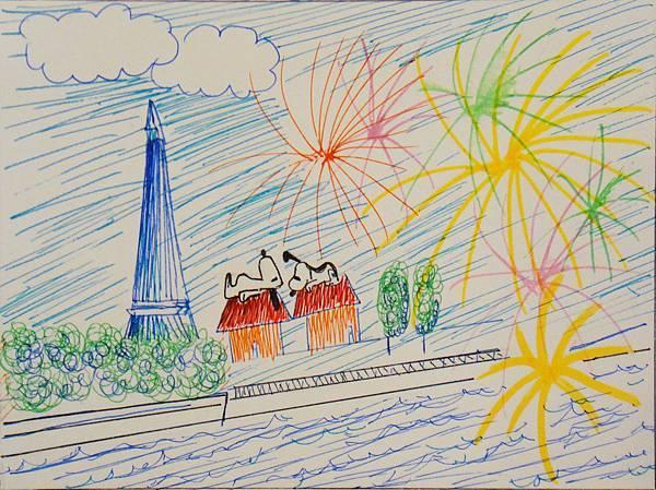 學生鋼珠筆風景創意畫(1)