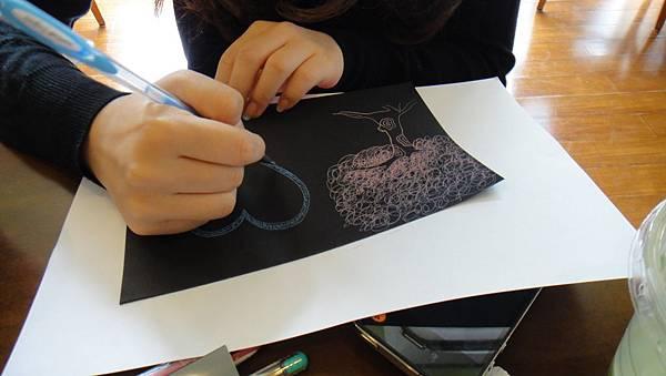 學生鋼珠筆仿版畫練習(3)