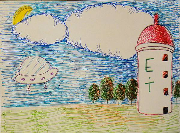 學生鋼珠筆風景創意畫(2)