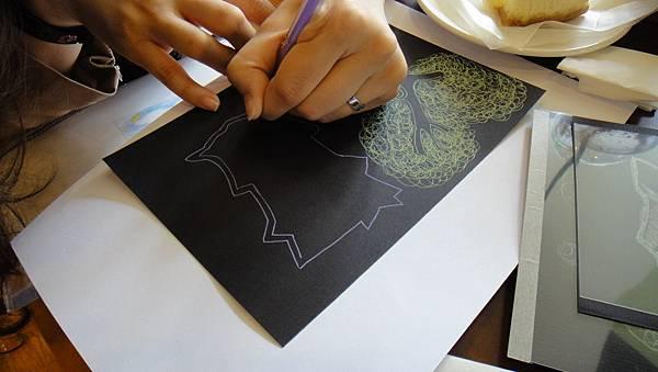 學生鋼珠筆仿版畫練習(1)