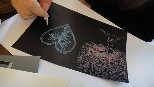 學生鋼珠筆仿版畫練習(4)