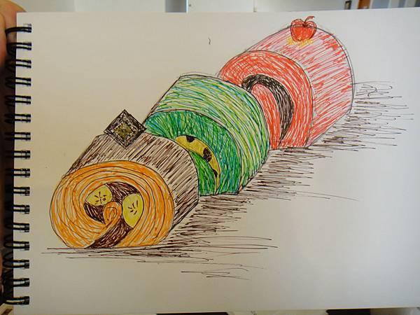 》學生鋼珠筆甜點畫(蛋糕)練習(8)