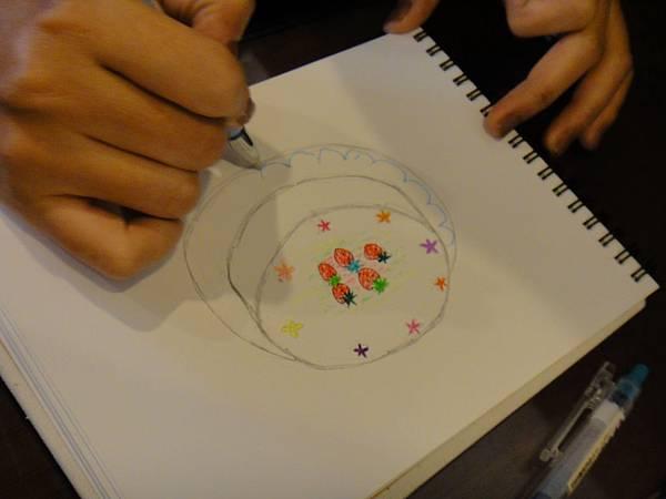 》學生鋼珠筆甜點畫(生日蛋糕)練習(5)