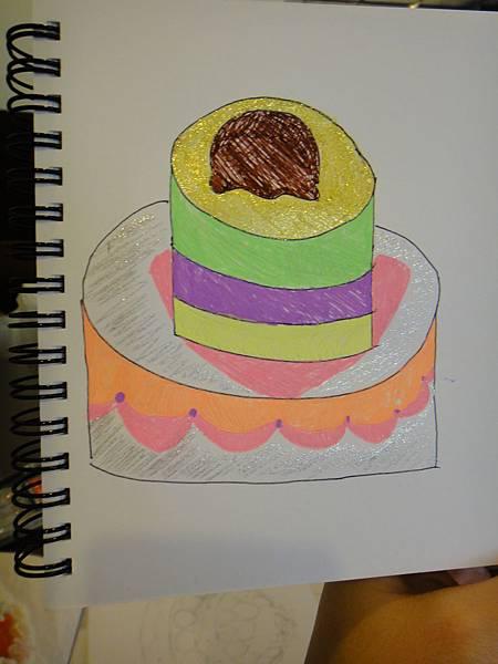 》學生鋼珠筆甜點畫(生日蛋糕)練習(4)