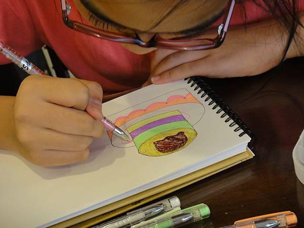 》學生鋼珠筆甜點畫(生日蛋糕)練習(3)