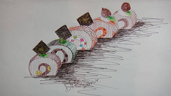 鋼珠筆畫甜品畫法範例(蛋糕卷)