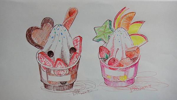 鋼珠筆畫甜品畫法範例(聖代)