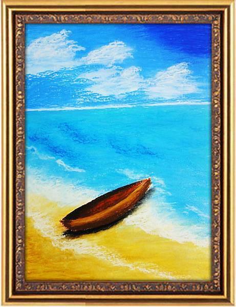 》學生油性粉彩作品_ 海灘上的小船