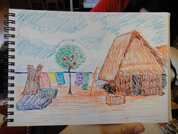 》學生水性鋼珠筆風景創意畫(6)