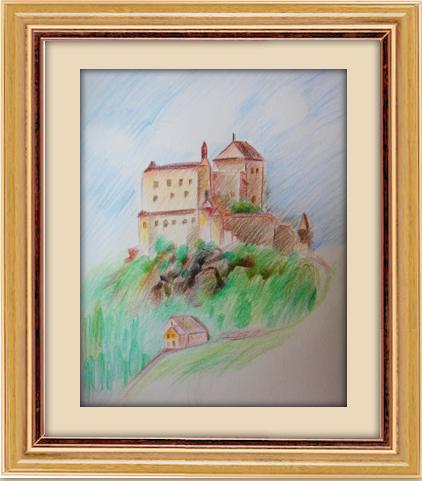 》色鉛風景_山頂上的城堡
