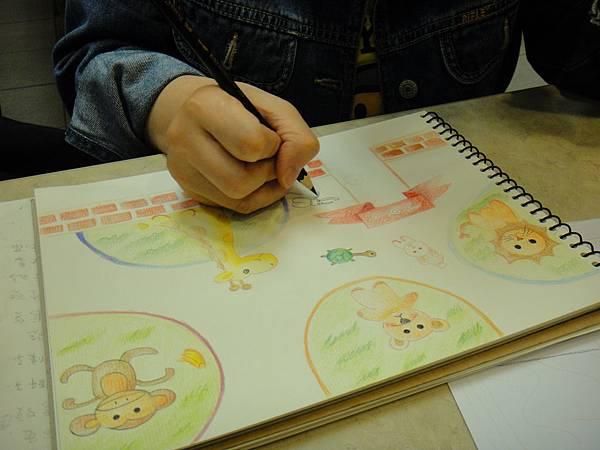 》學生色鉛全畫接續完成_可愛動物園(4)