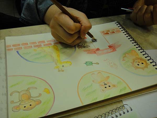 》學生色鉛全畫接續完成_可愛動物園(5)