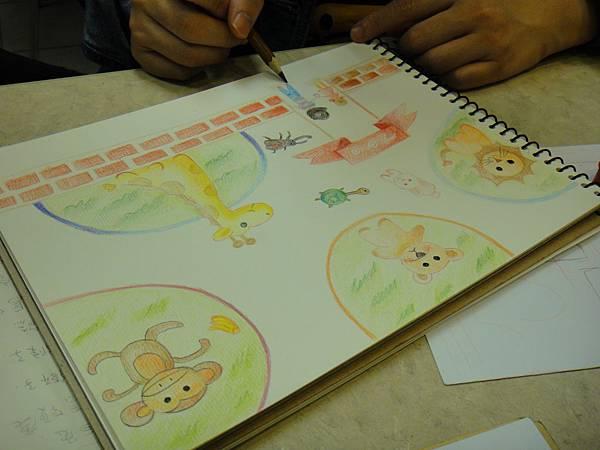 》學生色鉛全畫接續完成_可愛動物園(6)