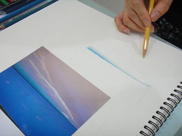 》學生色鉛海灘浪花質感練習(2)
