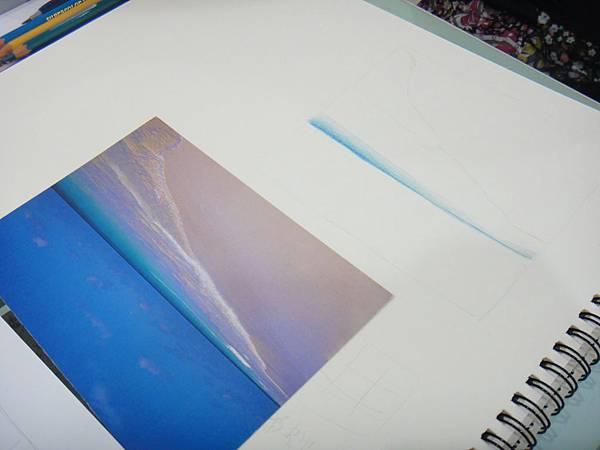 》學生色鉛海灘浪花質感練習(1)