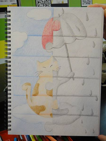 》學生色鉛、鉛筆黑白彩色對比畫創作(成品)