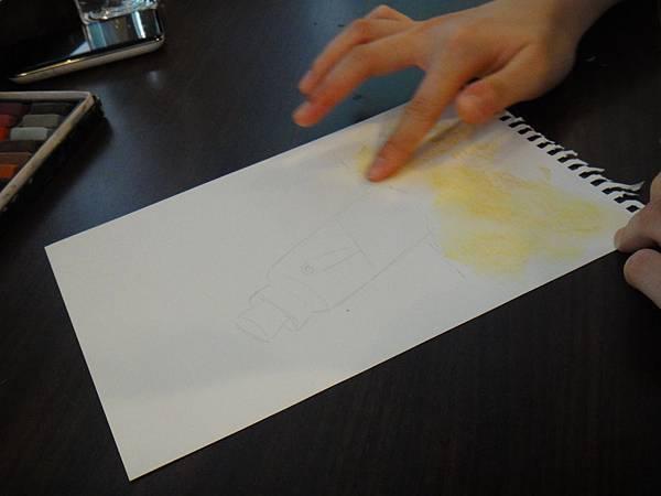 》學生粉彩+色鉛玻璃質感練習_瓶中信(1)