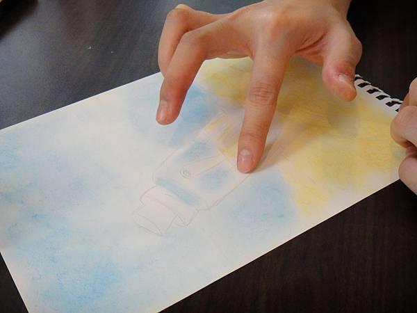 》學生粉彩+色鉛玻璃質感練習_瓶中信(3)