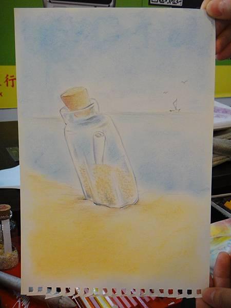 》學生粉彩+色鉛玻璃質感練習_瓶中信(成品)