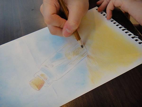 》學生粉彩+色鉛玻璃質感練習_瓶中信(6)