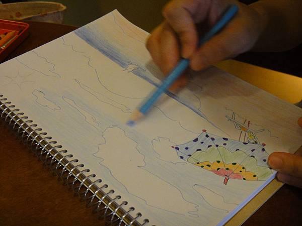》學生色鉛+鋼珠筆全景畫面練習(4)