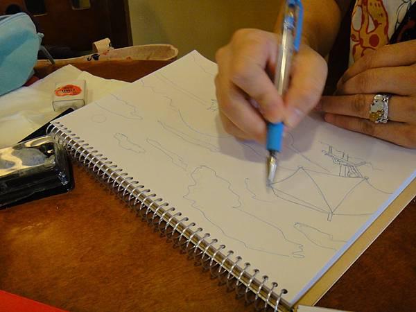 》學生色鉛+鋼珠筆全景畫面練習(2)