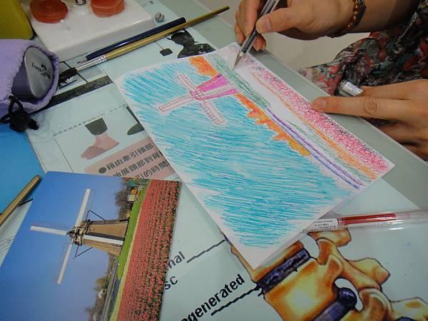 》學生鋼珠筆刷水風景畫練習(7)