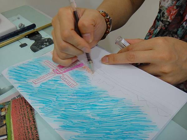 》學生鋼珠筆刷水風景畫練習(5)