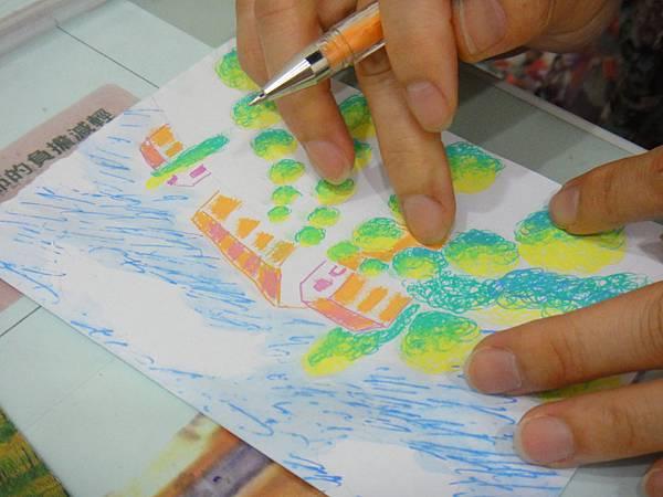》學生鋼珠筆塗抹風景畫練習(9)