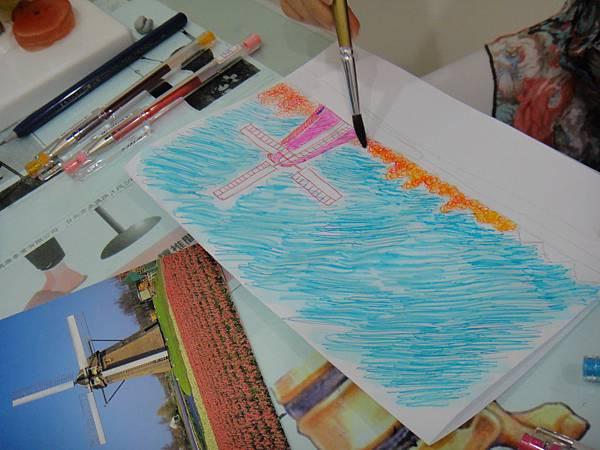 》學生鋼珠筆刷水風景畫練習(6)