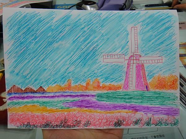 》學生鋼珠筆刷水風景畫練習(成品)