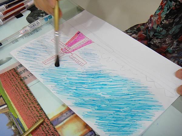》學生鋼珠筆刷水風景畫練習(4)