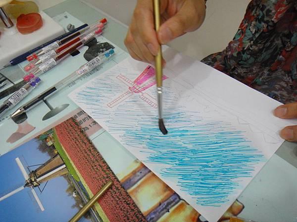》學生鋼珠筆刷水風景畫練習(3)