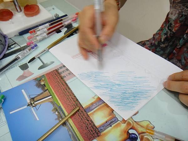 》學生鋼珠筆刷水風景畫練習(2)