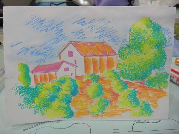 ※鋼珠筆塗抹風景畫示範圖