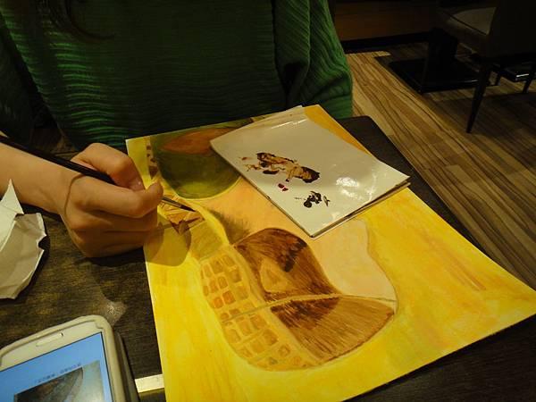 》學生壓克力畫(仿達文西畫作)-4