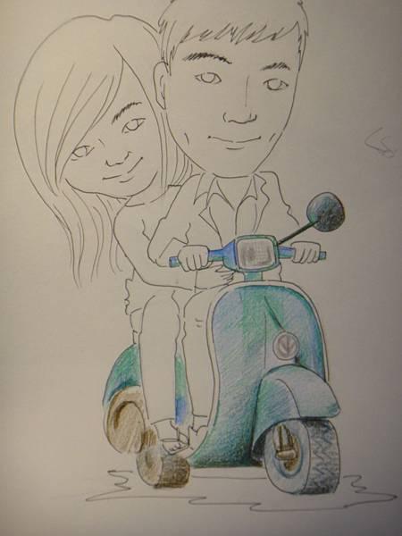 ※Q版人像加背景(摩托車上色示範)