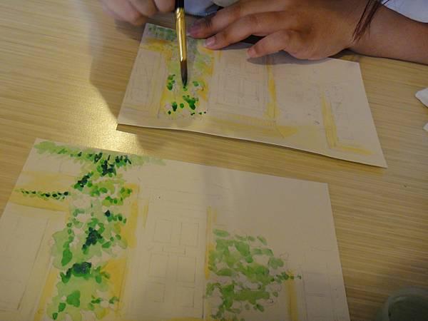 》學生庭園花草上色跟畫(4)