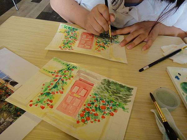 》學生庭園花草上色跟畫(9)