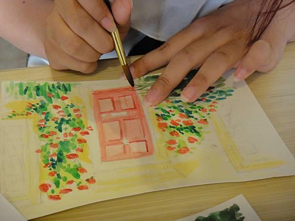 》學生庭園花草上色跟畫(8)