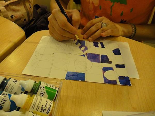》學生彩色墨水鑲嵌畫上色練習(2)