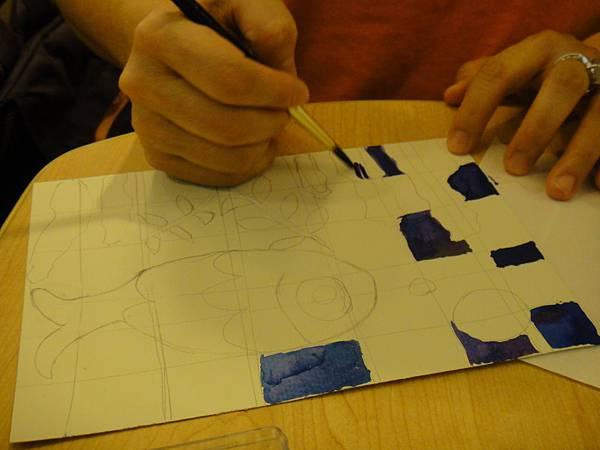 》學生彩色墨水鑲嵌畫上色練習(1)