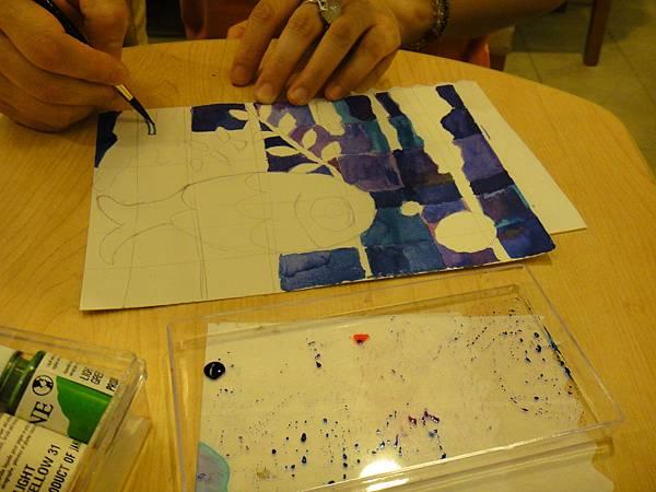 》學生彩色墨水鑲嵌畫上色練習(4)