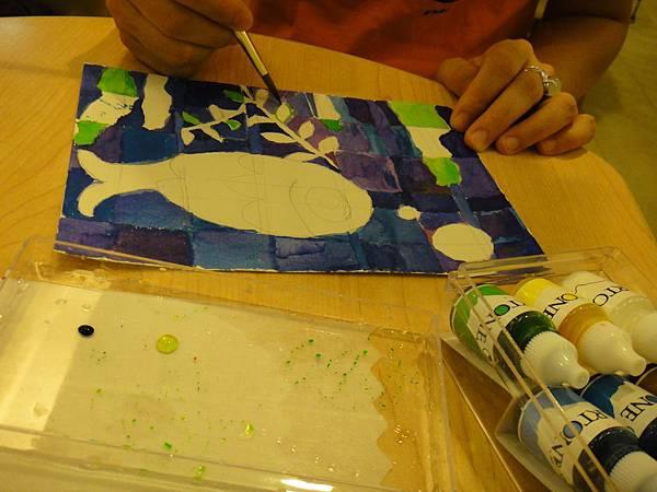 》學生彩色墨水鑲嵌畫上色練習(6)