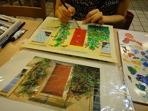》學生實景庭園花草壓克力畫練習(12)