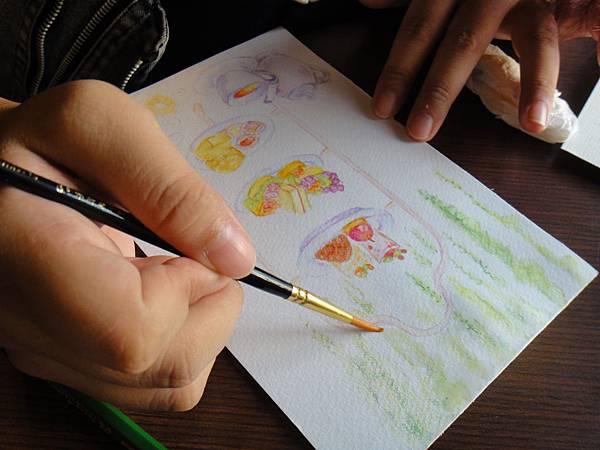 》學生英式下午茶淡彩畫練習(14)
