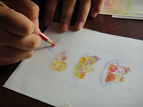 》學生英式下午茶淡彩畫練習(8)