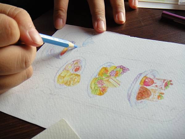 》學生英式下午茶淡彩畫練習(9)
